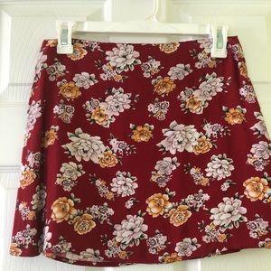 Forever 21 red floral skirt
